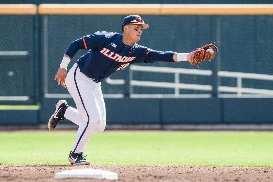Illinois shortstop Branden Comia (20) snags a ground ball during the game against Maryland in the Big Ten Tournament at TD Ameritrade Park on, May 22, 2019. The Illini lost 6-2.