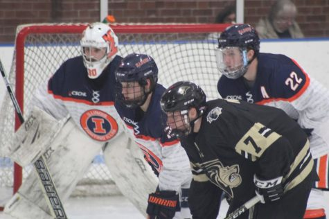 Illinois defenses Tyler Opilka (22) and Joe Nolan (27) defend the goal during the Illinois vs. Lindenwood game at the Ice Arena on Friday, Jan. 18, 2019. Illinois lost 2-1. Illinois will play Alabama this Friday and Saturday.