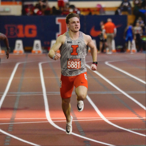 Sophomore sprinter Declan Rustay runs in the 60-meter dash at the Illini Invitational on Jan. 24. Illinois will travel to Nashville for the Music City Invitational on Friday and Saturday.