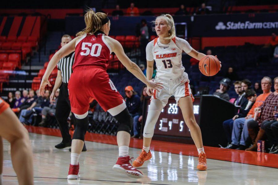 Petra Holešínská dribbles the ball against an Indiana defender at State Farm Center on Feb. 13.