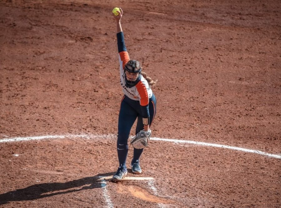 Addy Jarvis winds up for a pitch during Illinois' match against Texas State at Waco, Texas, on Friday. Pitching was at the forefront of the Illini's 2-2 record at the Baylor Invitational.
