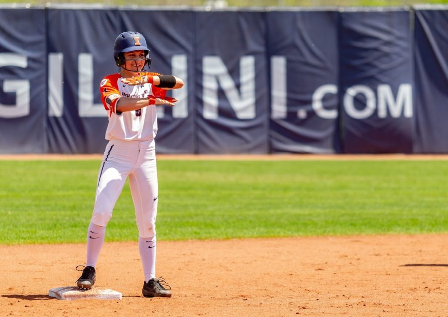 Senior outfielder Kiana Sherlund celebrates a double against Purdue on May 5. Illinois competes against Notre Dame and North Carolina next weekend in Raleigh, N.C.