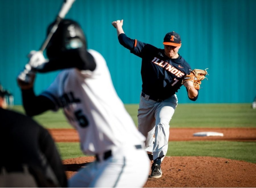 Ty Weber pitches the ball during the Illinois' game against Coastal Carolina at Conway S.C. on Feb. 22.