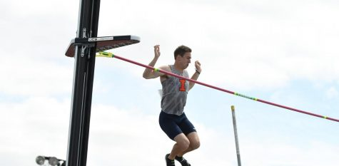 Jacob LaRocca clears 5.11m at theBig Ten Outdoor Championships at the University of Iowa on May 10.