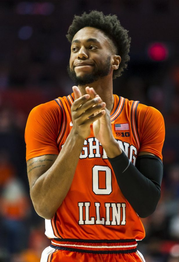 Sophomore guard Alan Griffin celebrates during Illinois' game against Michigan State on Feb. 11 at State Farm Center. Griffin scored a career-high 24 points on the road Thursday night at Northwestern.