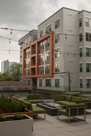The outdoor lounge at Octave Apartments. Assistant Special Sections Editor Clare Budin suggests that students avoid the hype of luxury apartments and stick to budget deals.