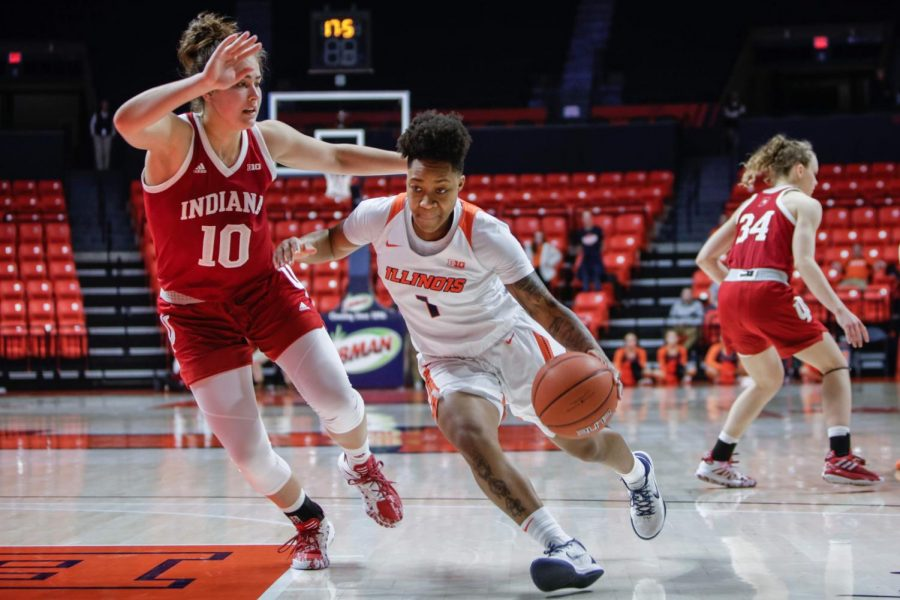 Senior+guard+Brandi+Beasley+drives+past+an+Indiana+player+during+the+Illini%27s+game+against+the+No.+20-ranked+Hoosiers.+Illinois+fell+to+Purdue+Sunday+during+Senior+Day+at+the+State+Farm+Center.+