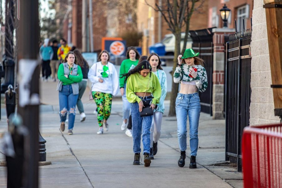 Students head toward The Red Lion to celebrate Unofficial on Friday.