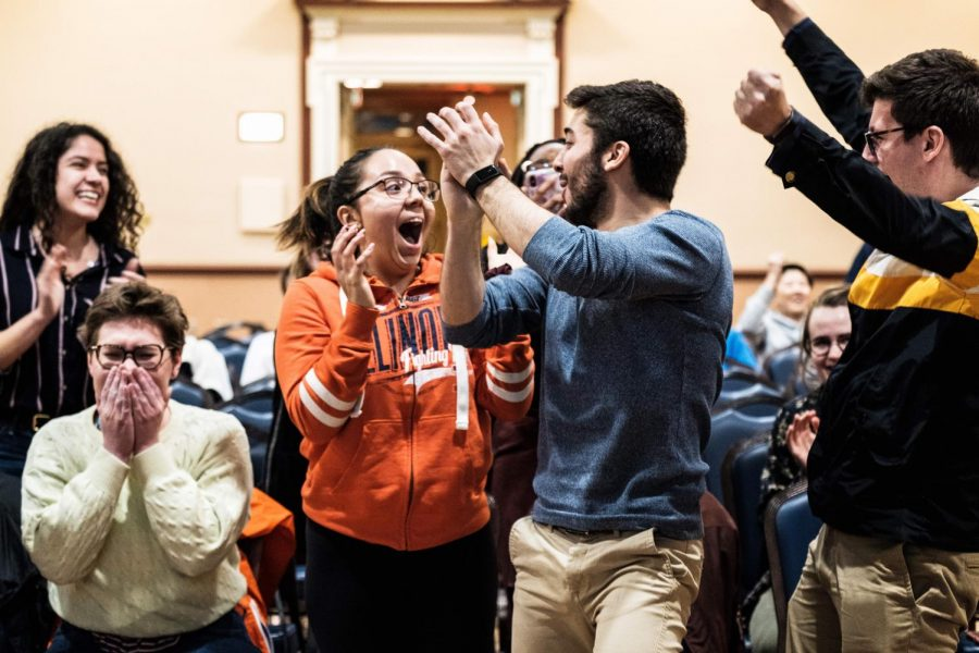 Alexis+Perezchica+and+Chris+Ackerman-Avila+celebrate+with+each+other+after+winning+the+Illinois+Student+Government+election+at+Illini+Union+Rooms+B+and+C+on+Monday.+Perezchica+and+Ackerman-Avila+are+the+new+student+body+president+and+vice+president%2C+respectively.