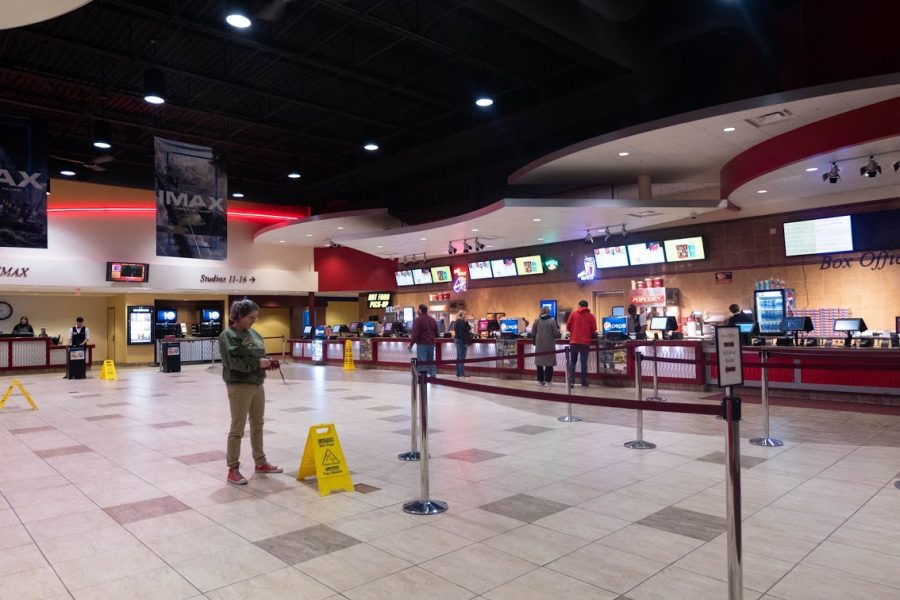 The lobby of the GQT Savoy 16 IMAX theater located off of route 45 on Saturday. Savoy 16's parent company, Goodrich Quality, owes $33 million to other companies.