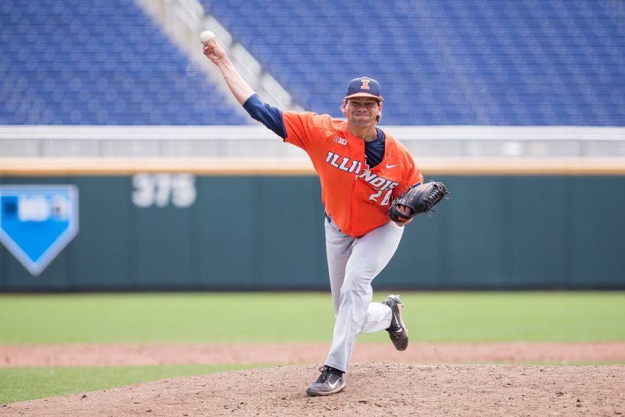 Illinois closing senior pitcher Garrett Acton de the pitch during the game against Michigan at TD Ameritrade Park on May 23. Acton broke Illinois' record for career saves with 25 during the Illini's game against the Elon Phoenix on Sunday.