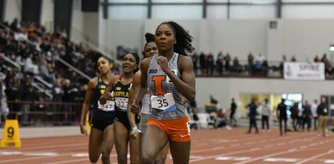 Senior Chisom Nwoko runs at the Big Ten Indoor Championships at the SPIRE Institute during the weekend of Feb. 29.