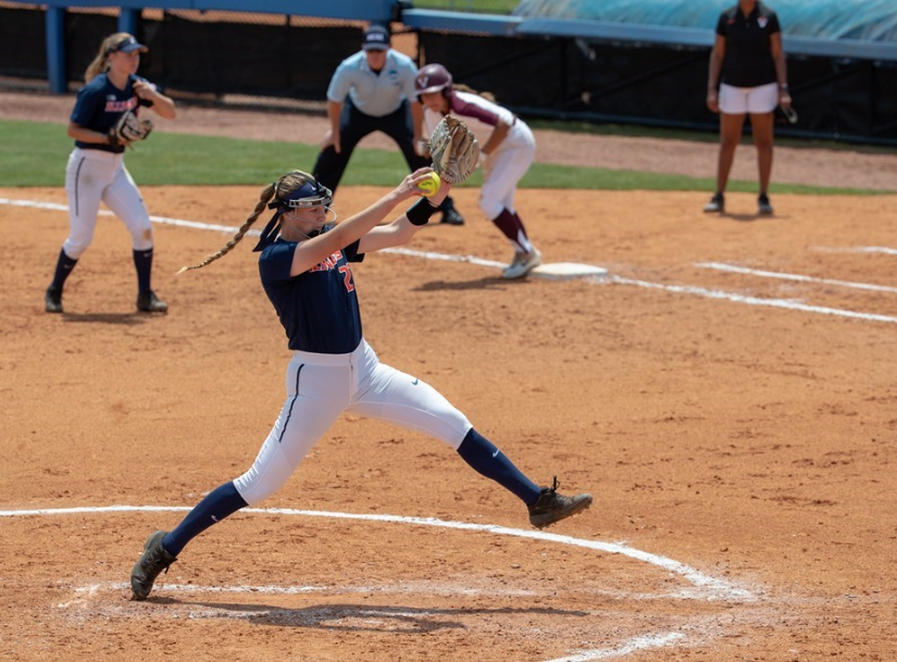 Sophomore Sydney Sickels winds up to pitch during the game against Virginia Tech on May 17. Despite several pitchers on the team's roster, Sickels and sophomore Addy Jarvis dominate the mound with ERAs below 2.52.
