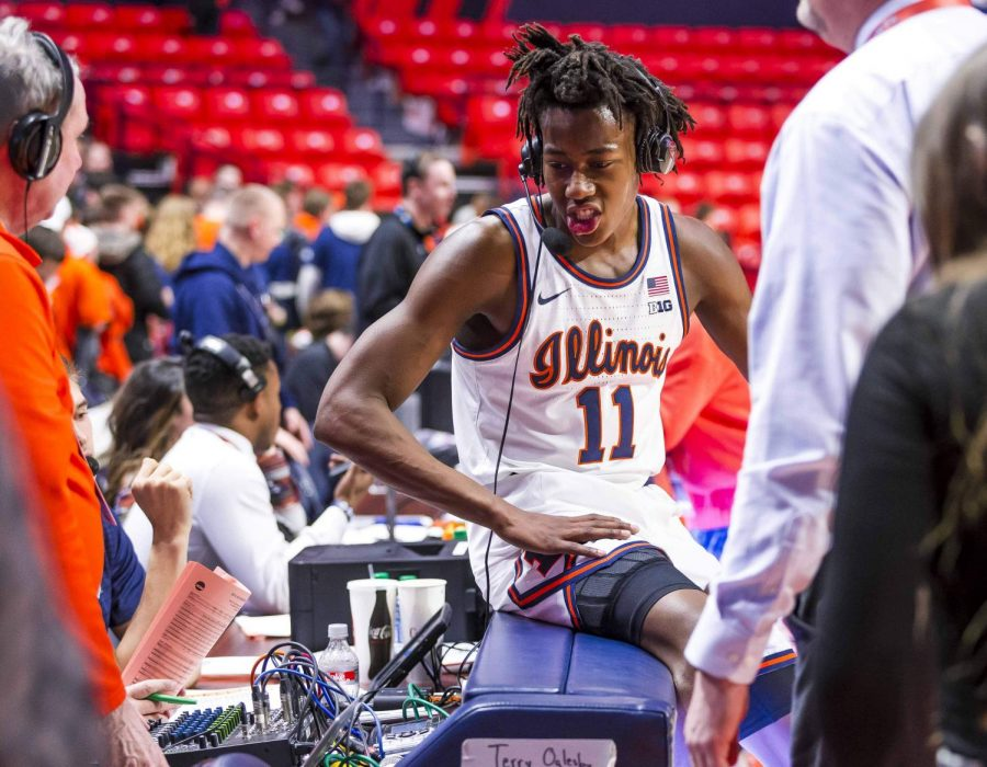 Sophomore guard Ayo Dosumnu interviews after the Illinois defeated Indiana.