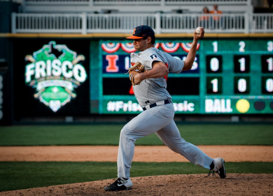 Senior pitcher Garrett Acton prepares to fire a pitch during a match against Oklahoma State on Feb. 29, 2020.