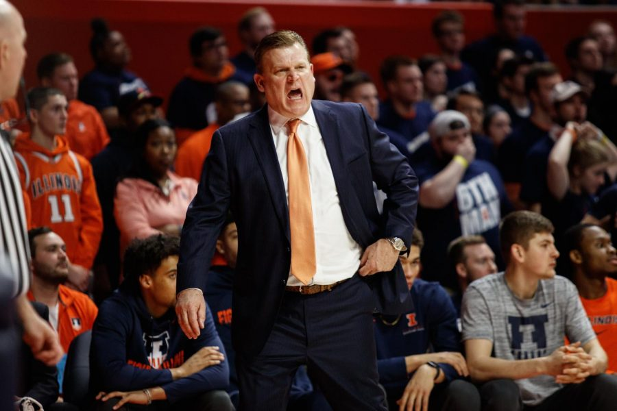 Illinois head coach Brad Underwood directs action from the sidelines during Illinois' game against Indiana Sunday at State Farm Center.