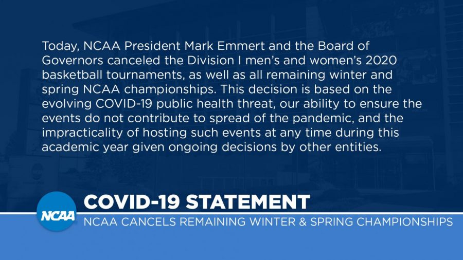An+image+of+the+official+statement+from+the+NCAA+announcing+the+cancellation+of+Division+one+basketball+tournaments.
