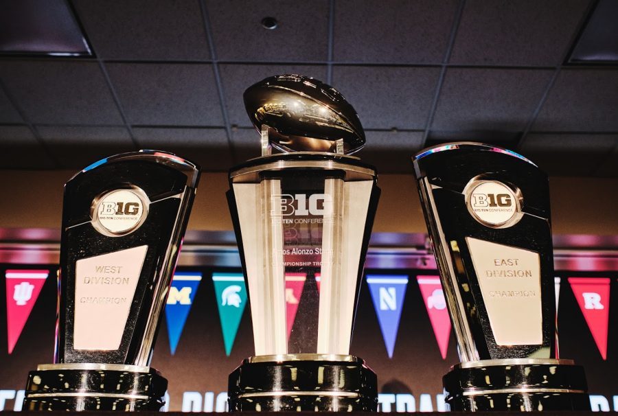 Big Ten football trophies stand on the main stage of the Big Ten Media Football Days at the McCormick Center on July 18.