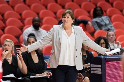Illinois Women's Basketball Coach Nancy Fahey holds her arms out in frustration during the match against Austin Peay on Nov. 13, 2019.