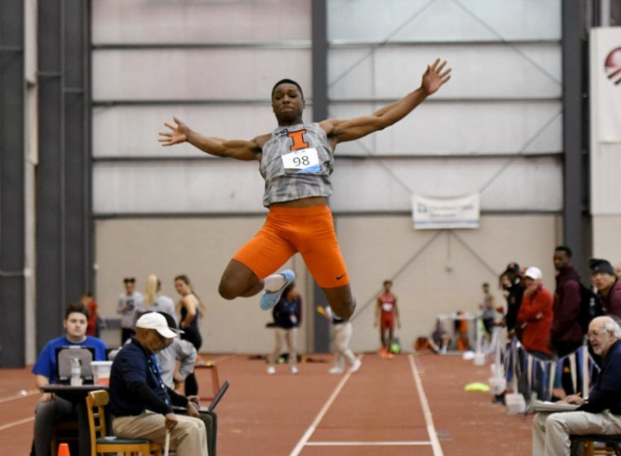 Senior Jonathan Wells competes in the long jump event during the Big Ten Men's Track and Field Championship on Feb. 29.