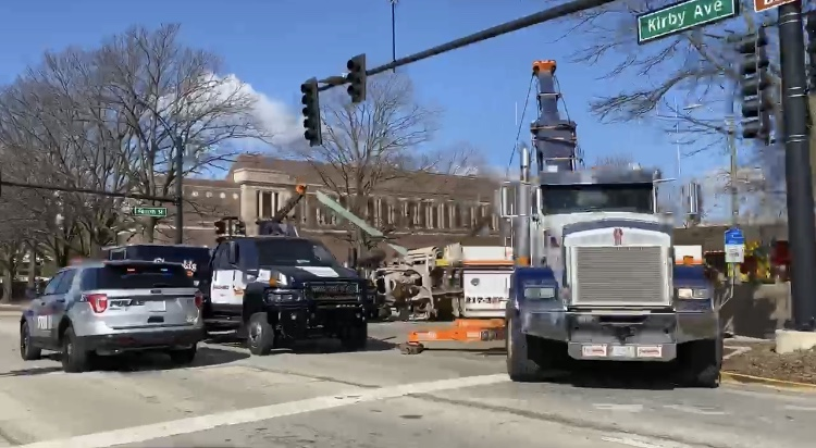 A concrete truck rolled over at the intersection of Fourth Street and Kirby Avenue just before 9 a.m. Wednesday. No injuries were reported, according to communications director for UIPD.