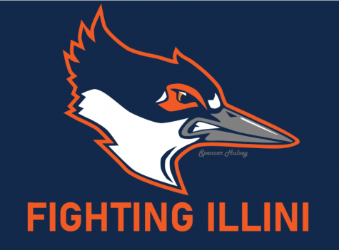 Spencer Hulsey's updated design for her belted kingfisher mascot idea. Hulsey, a senior in LAS, saw her mascot design win a nonbinding student body referendum on March 9.