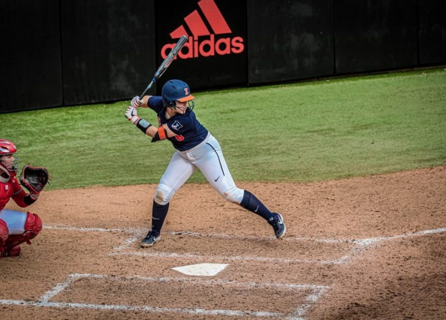 Freshman Delaney Rummel winds up for a swing against NC State on Feb. 16, 2020. The Illini won 7-3.