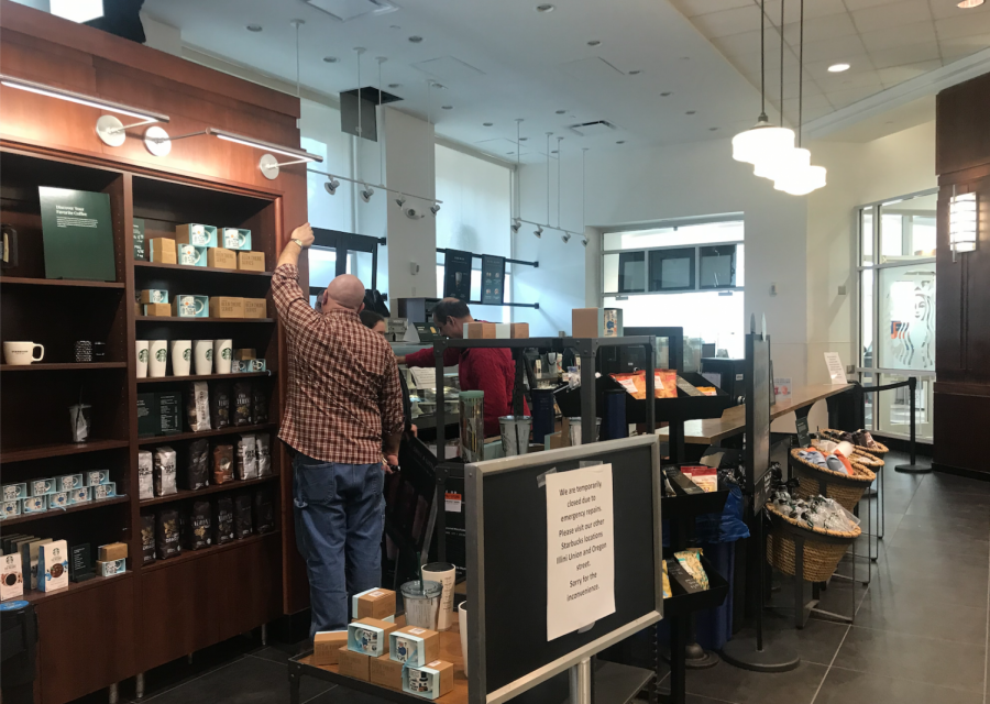 The Starbucks in the Illini Union Bookstore closed Monday due to an issue with a pipe. The repairs were completed Monday afternoon and business resumed as usual.