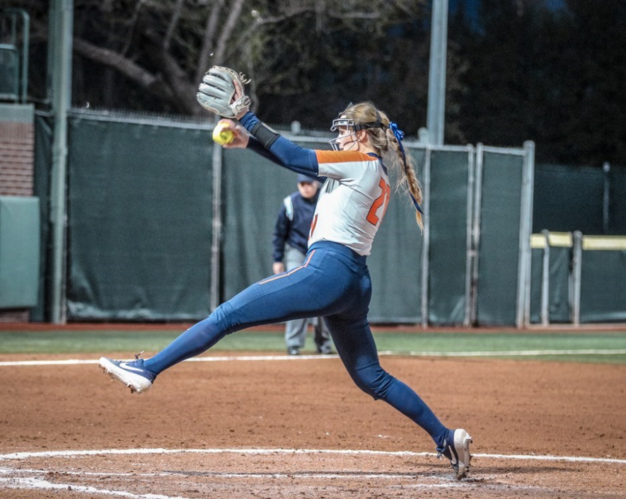 Sophomore pitcher Sydney Sickels winds up a pitch during a match against Baylor on Feb. 21, 2020.