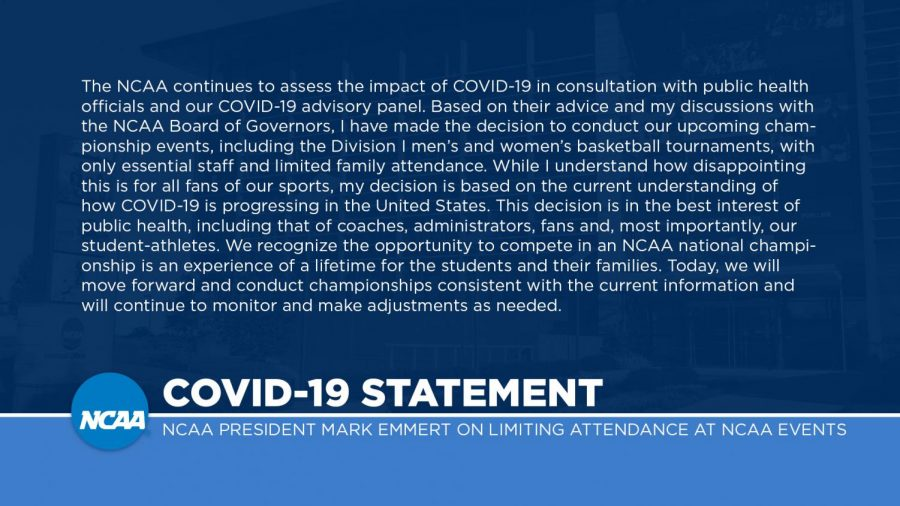 The NCAA released a statement on Twitter regarding the outbreak of COVID-19 on March 11.
