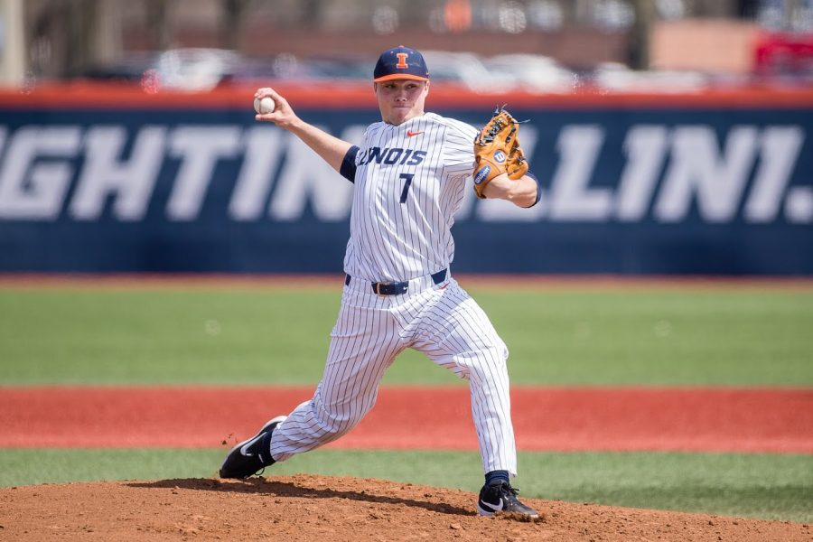 Illinois starting pitcher Ty Weber (7) delivers the pitch during game one of the doubleheader against Maryland at Illinois Field on Saturday, April 6, 2019. The Illini won 5-1.