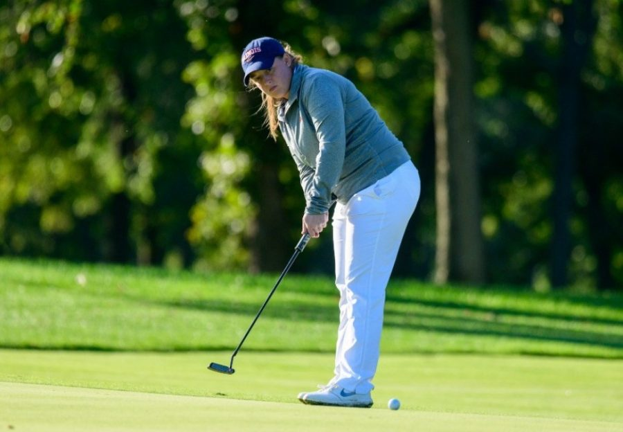 Senior Tristyn Nowlin putts her ball onto the green during the Illini Womens Invitational  on Oct 7, 2019 at the Medinah County Club.