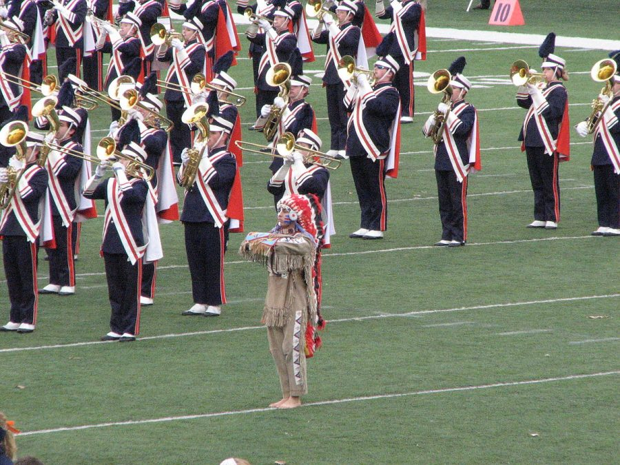 The now retired Chief Illiniwek mascot performs with the Marching Illini Band on Nov, 11, 2006 at Memorial Stadium.