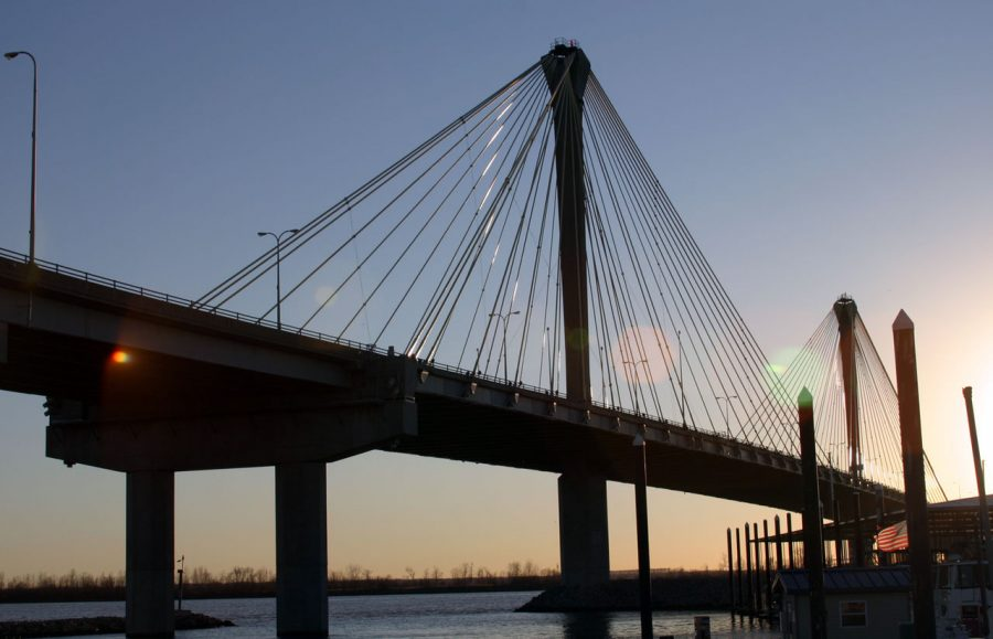 The Clark Bridge, a bridge that spans the Mississippi River connecting Alton, IL to West Alton, MO, stands on Jan. 8, 2007 at sunset.