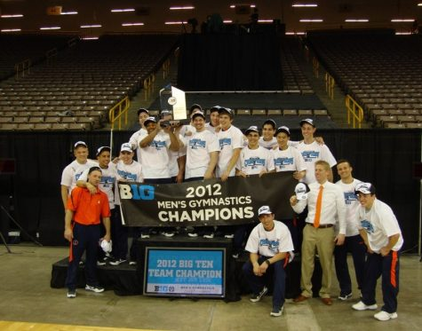 The University of Illinois Men's Gymnastics team poses for a photo after winning the Big Ten Championship on April 7, 2012.  The team would go on to win the National Championship as well.