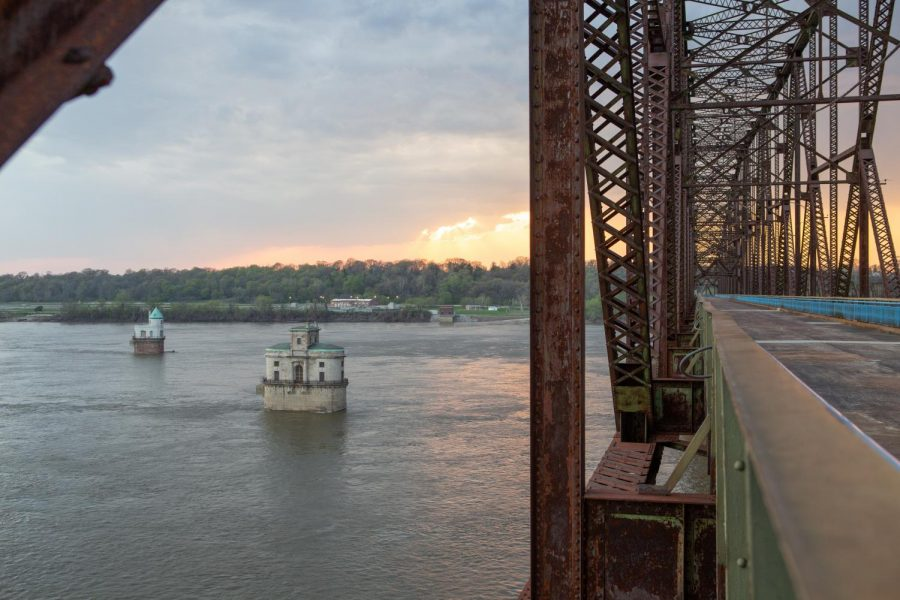 Old Chain of Rocks Bridge, normally a popular walking trail located on the Illinois and Missouri border, sits empty on April 9 at sunset.
