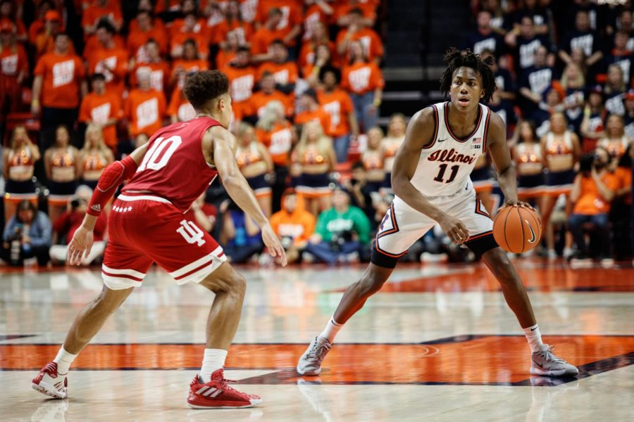 Illinois sophomore Ayo Dosunmu dribbles the ball against Indiana on March 1. The Illini beat the Hoosiers 67-66.