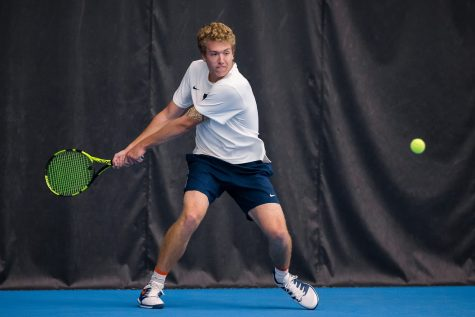 Illinois' Alex Brown prepares to return the ball during the match against Penn State at Atkins Tennis Center on Friday, April 12, 2019. The Illini won 4-3.