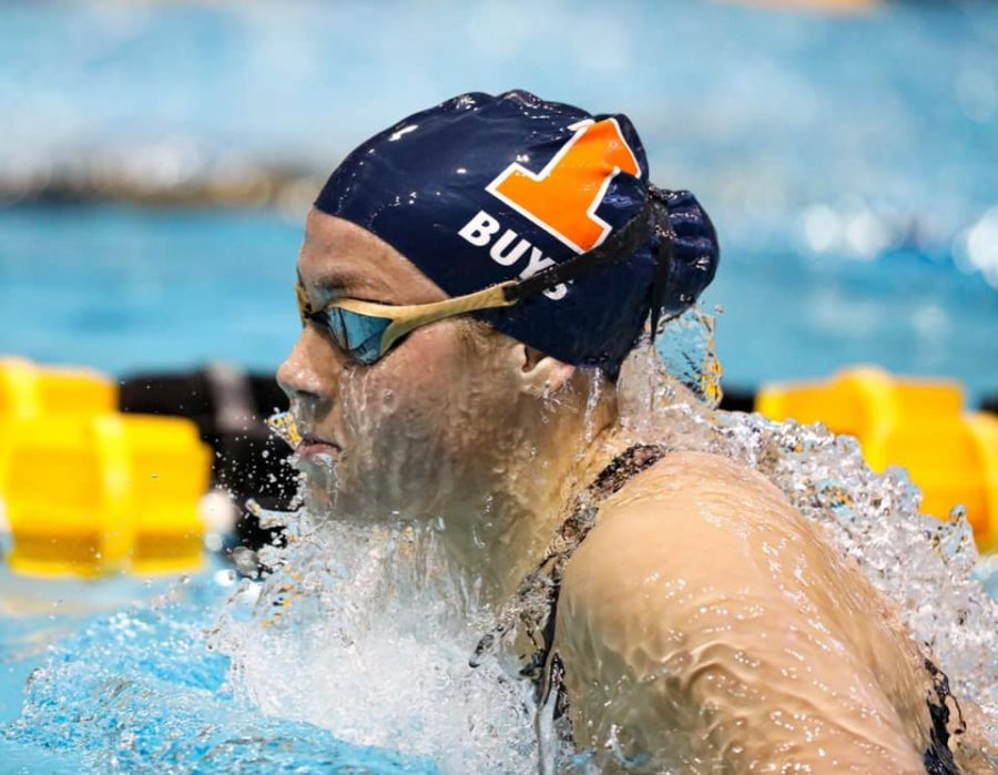 Freshman Jeanri Buys competes in a breaststroke event at the Big Ten Championships on Feb. 19.