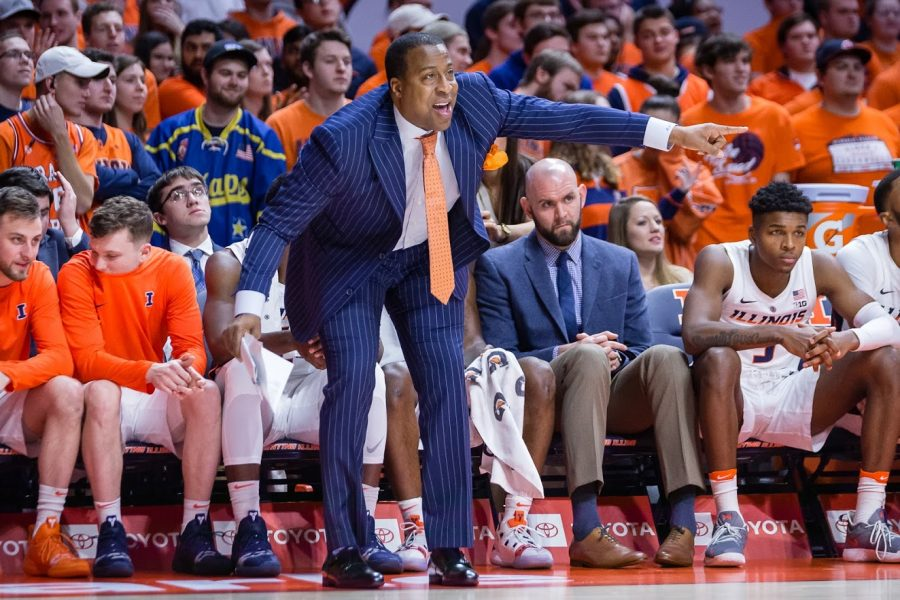 Illinois Assistant Coach Ron Coleman gives directions from the sideline during the game against Rutgers at State Farm Center on Saturday, Feb. 9, 2019. The Illini won in overtime, 99-94.