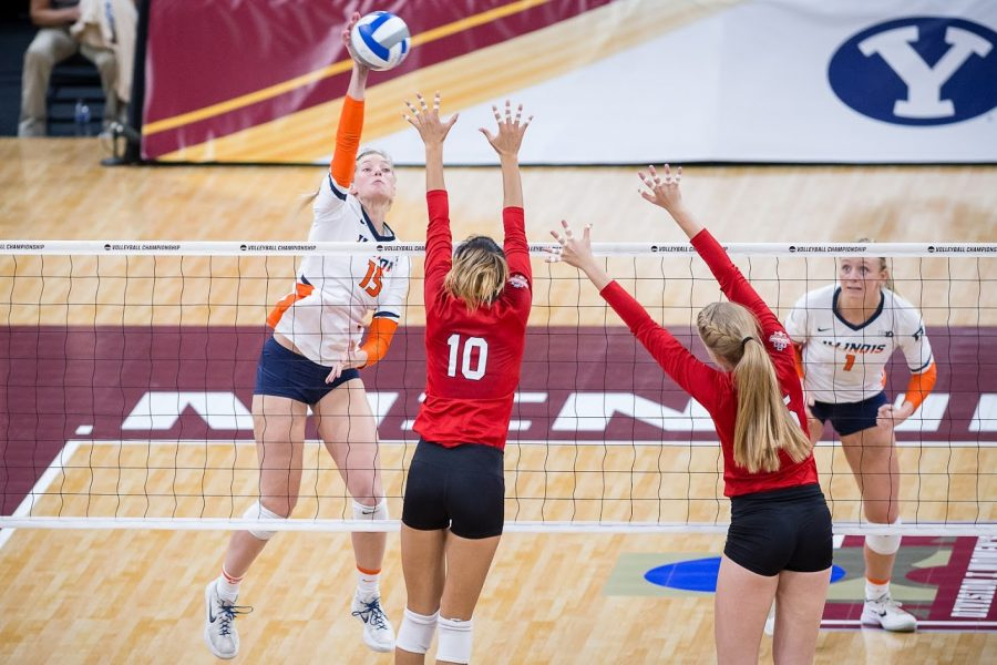 Illinois+outside+hitter+Megan+Cooney++spikes+the+ball+during+the+match+against+Nebraska+in+the+Final+Four+of+the+NCAA+tournament+at+the+Target+Center+on+Thursday%2C+Dec.+13%2C+2018.+Nebraska+defeated+Illinois+3-2.