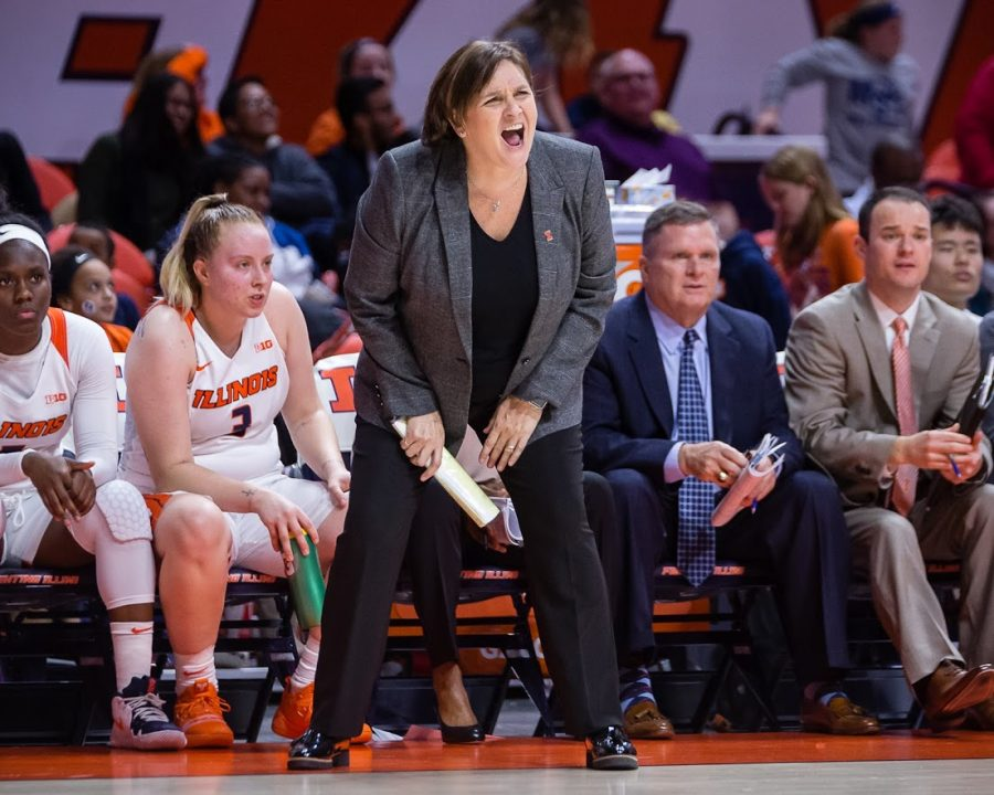 Illinois Head Coach Nancy Fahey shouts at her team from the sideline during the game against Nebraska at State Farm Center on Thursday, Jan. 17, 2019. The Illini lost 77-67.