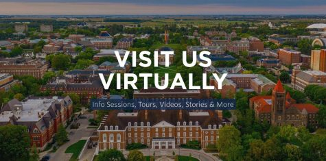 The homepage of the University of Illinois admissions page encourages viewers to visit campus virtually on Friday.