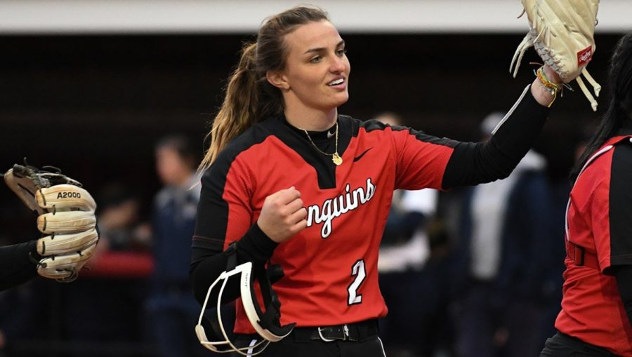 Freshman+Addy+Jarvis+raises+her+arm+as+she+walks+off+the+field+during+the+match++between+Youngstown+State+and+Kent+State+on+March+20%2C+2019.