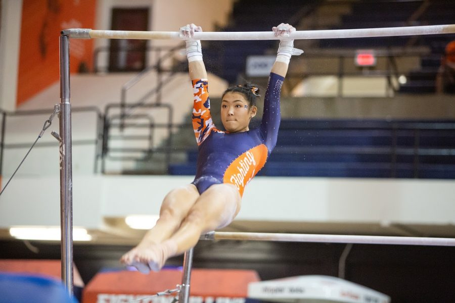 Freshman+Mia+Takekawa+performs+her+Uneven+Bars+routine+during+a+match+against+Penn+State+on+Feb.+7.+