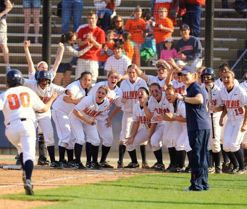The University of Illinois Softball Team celebrates a walk-off home run during the match against Ohio State on  April 10, 2010.