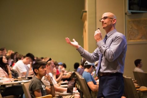 Professor Mitch Fisher lectures to his ACCY 201 class at Lincoln Hall Theater on Thursday, Aug. 29, 2019.