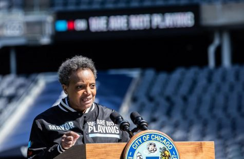 Chicago Mayor, Lori Lightfoot, launches the We Are Not Playing initiative at Soldier Field on April 6, 2020. In recent days, Lightfoot has addressed that Covid-19 deaths are disproportionately African American.