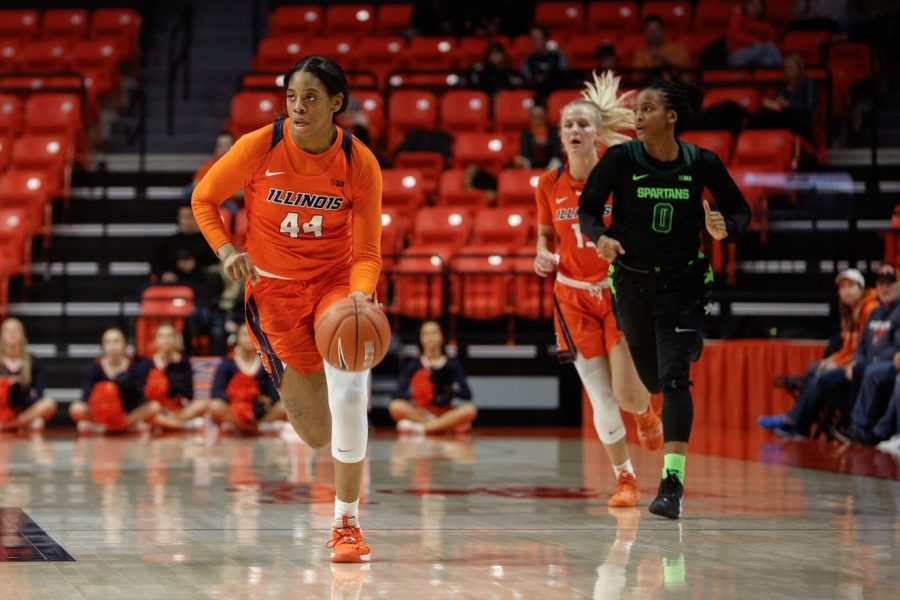 Freshman+Forward+Kennedi+Myles+advances+down+the+court+during+the+game+against+Michigan+State+on+Feb.+26.+The+Illini+begin+their+2020-2021+season+Wednesday+night+against+Indiana+State.+