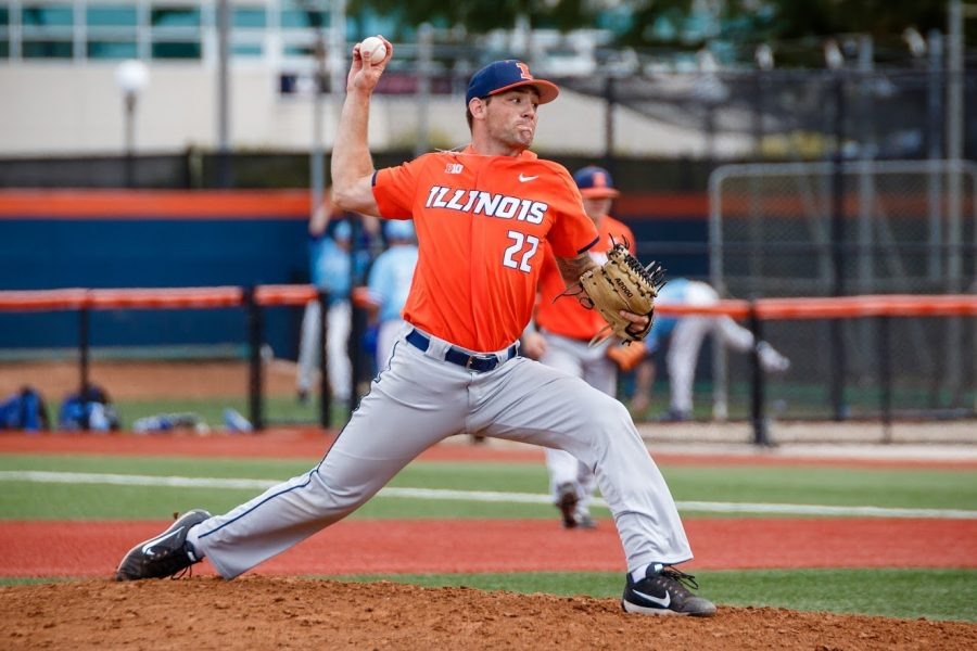 Illinois pitcher Cyrillo Watson delivers the pitch during the exhibition game against Indiana State at Illinois Field on Saturday, Sept. 22, 2018. The Illini tied 5-5.